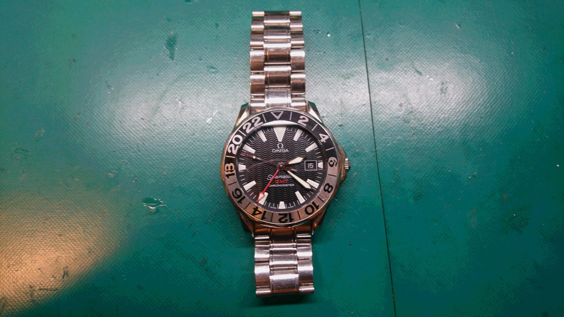 sale retailer 9e923 7e229 時計修理 オメガ シーマスター GMT オートマ 中留めバックル ...