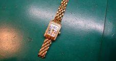 時計修理 RUBIANT K18ダイヤ入りケース 電池交換・金具修理